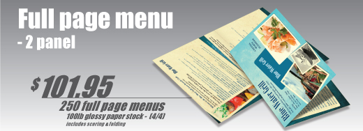 Full Page Menu Banner