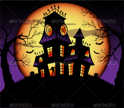 15 affordable halloween graphics to use for marketing - Cartoon haunted house pics ...
