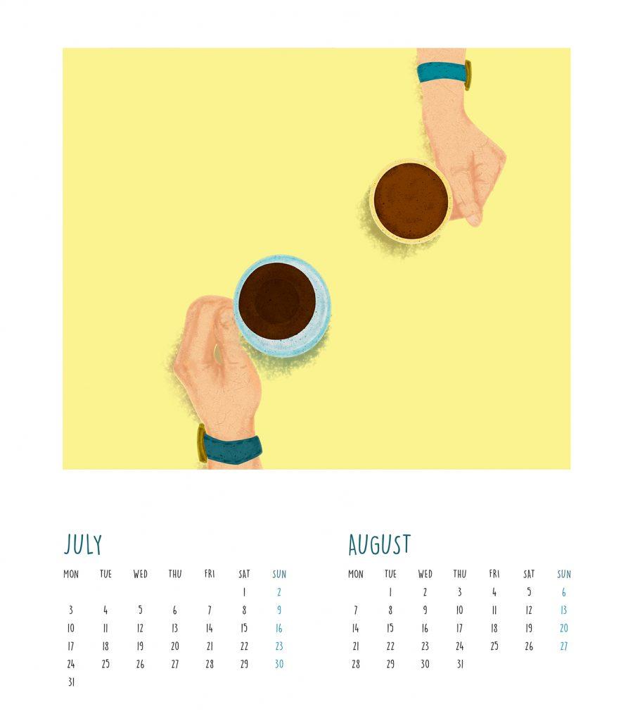 The Story of Hand n Coffee calendar design by zen makino