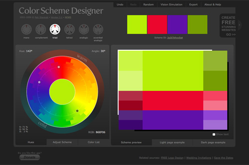 Colorschemedesigner in 40+ Useful Online Generators For Web Designers