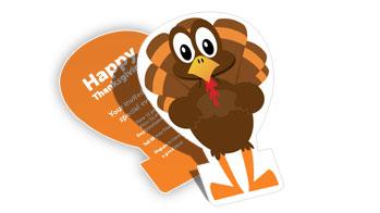 Turkey Die Cut Card Printing & Free Templates : Full Color Custom Holiday Die Cuts