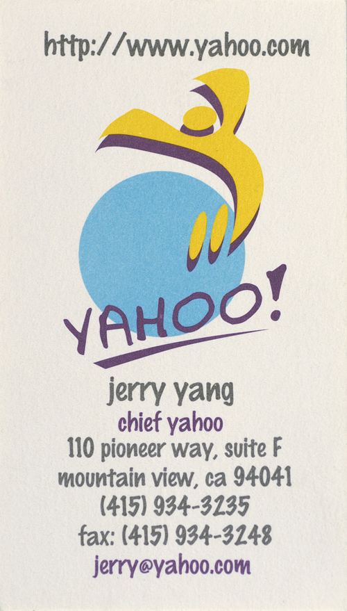 Jerry Yang Business Card [Chief Yahoo, Yahoo!]