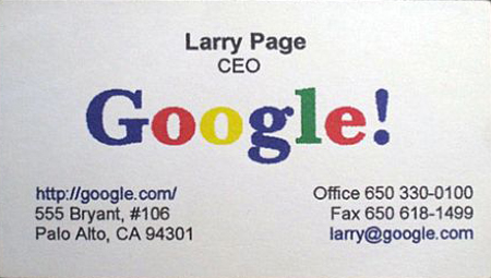 The business cards of tech giants larry page business card ceo google colourmoves