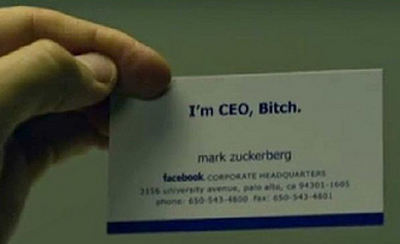 From 'The Social Network' Movie: Mark Zuckerberg Business Card [CEO, Facebook]