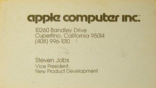 Steve Jobs Business Card [Vice President, Apple]