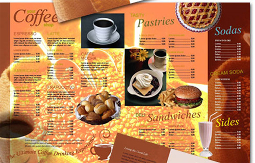 Coffee shop menu templates for Sandwich shop menu template