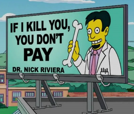 Dr. Nick Riviera billboard (The Simpsons)