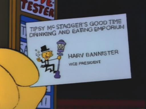 Harv Bannister Business Card (The Simpsons)