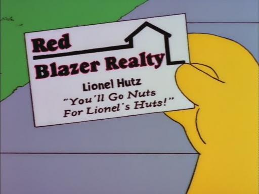 Lionel Hutz Red Blazer Realty Business Card (The Simpsons)