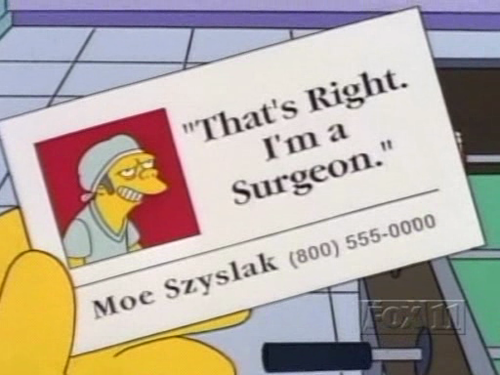 Funny cartoon business cards from the simpsons moe szyslak business card the simpsons colourmoves Image collections