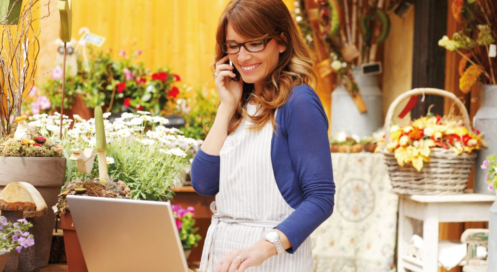 Retail business owner checking her online sales.