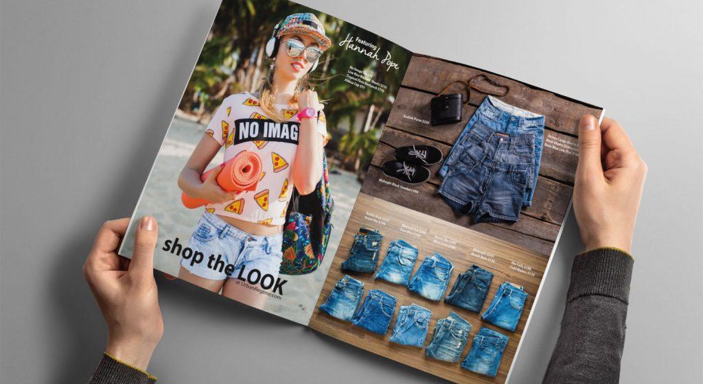 Customer browsing clothes catalog