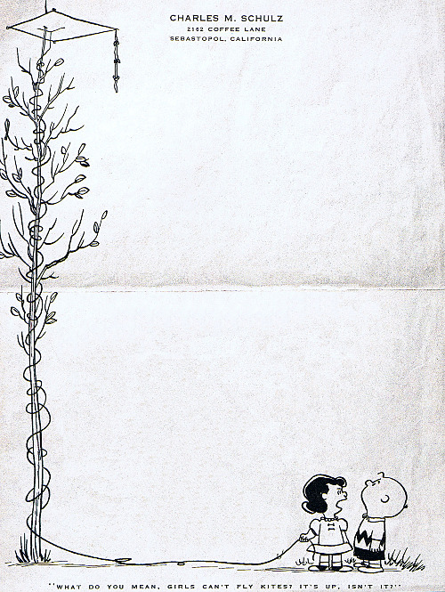 Charles Schulz, 1958 | Submitted by Steven Gettis Yet another adorable letterhead from Schulz. Previously: 1966; 1997.