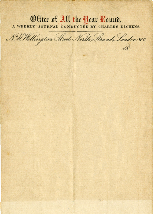 Letterhead used by Charles Dickens whilst editing his literary magazine, All the Year Round. Founded by Dickens in 1859, the periodical ran until 1895. Charles Dickens, c.1860 | Submitted by A.J.