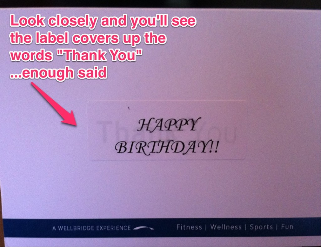Colorado Athletic Club Repurposed Folded Birthday Card