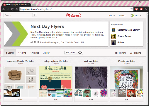 We've pinned posters, business cards, and infographics that have inspired the NextDayFlyers team.