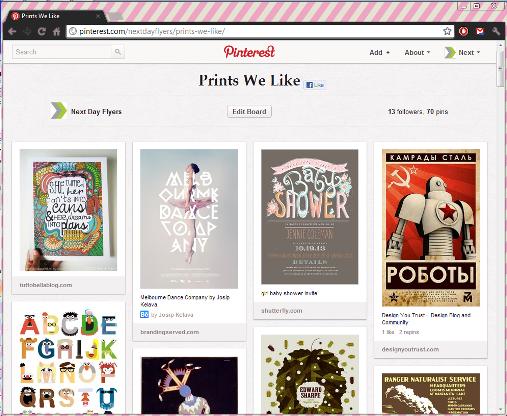 "NextDayFlyers' ""Prints We Like"" Pinterest Board"