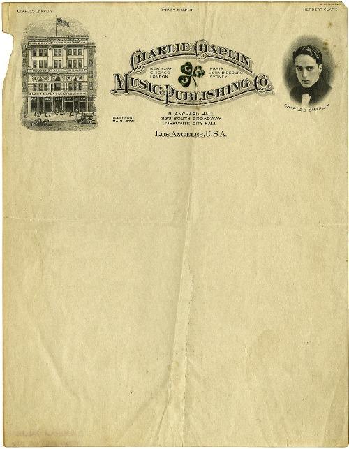 Charlie Chaplin Music Publishing Co. vintage letterhead