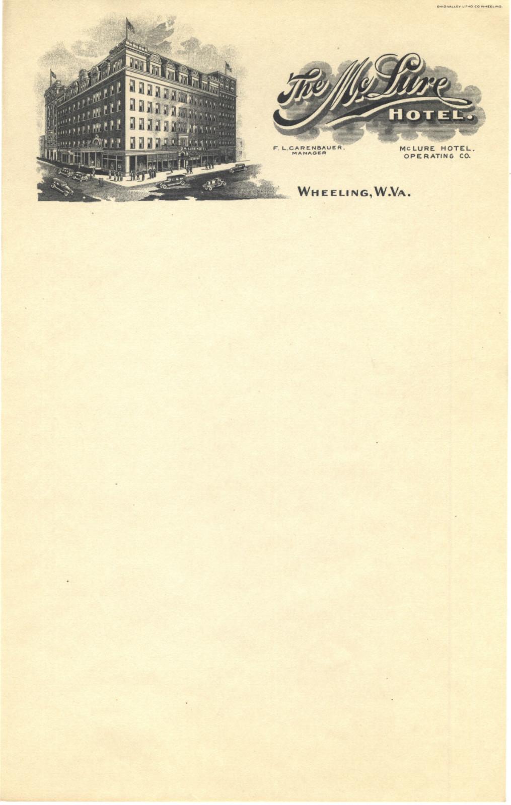 McLure Hotel vintage letterhead