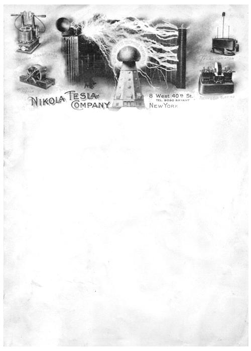 Nikola Tesla antique letterhead