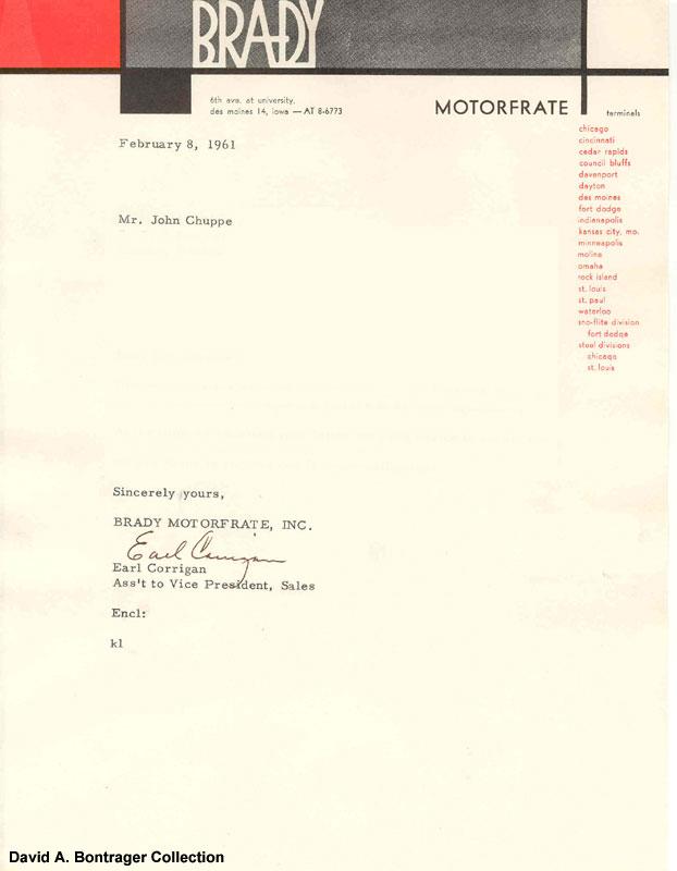 Brady Motorfrate vintage letterhead