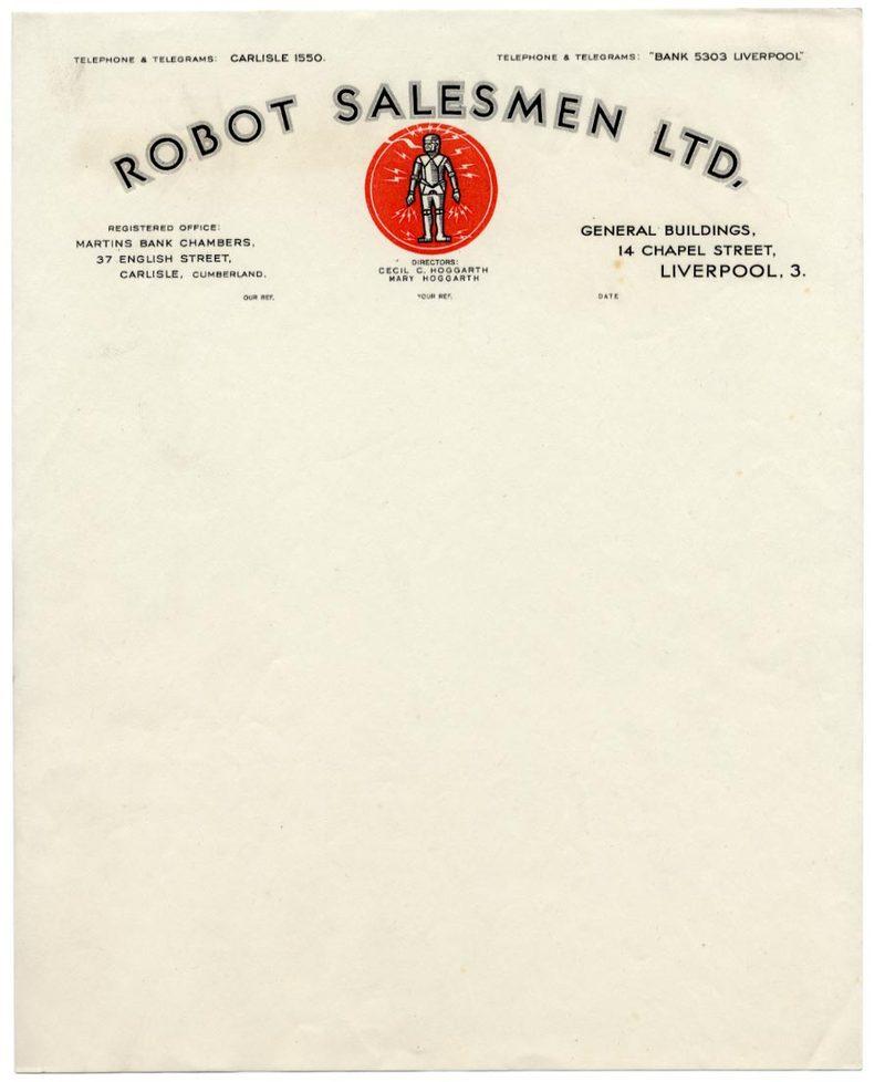 Robot Salesmen, Ltd vintage letterhead