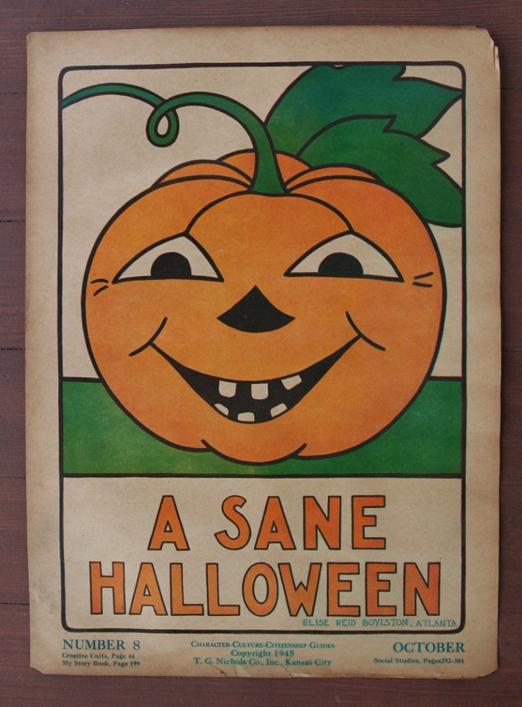 1940s Vintage Halloween School Poster via eBay