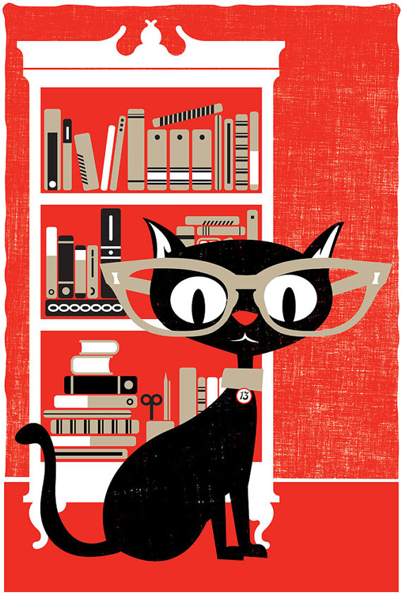 Black Cat Screenprint Poster by StrawberryLuna on Etsy