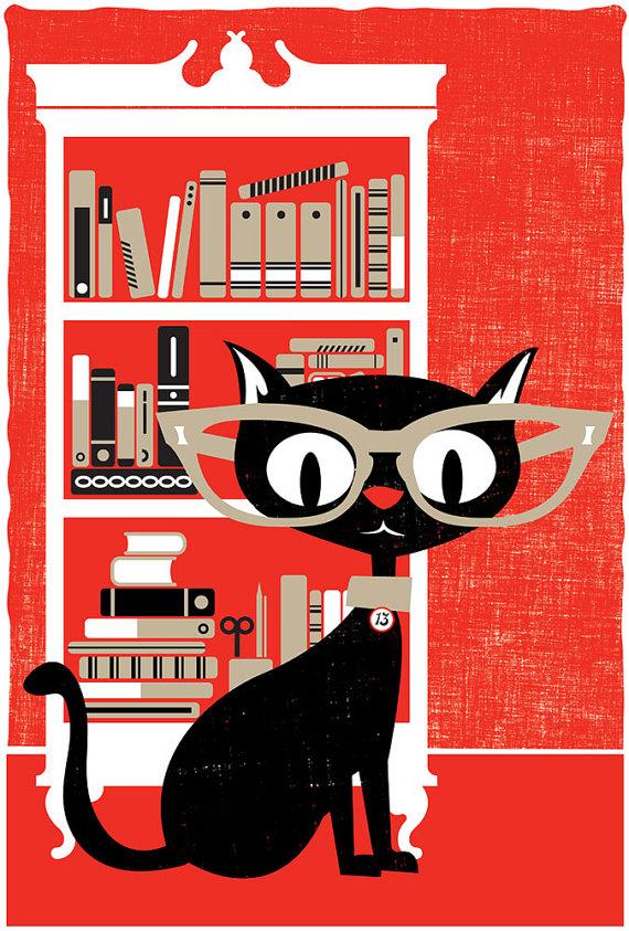 Black Cat Screenprint Poster by StrawberryLuna on Etsy