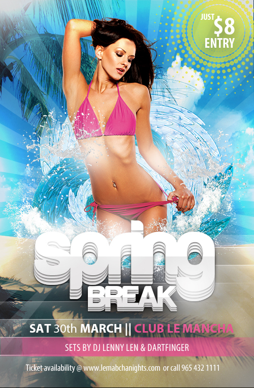 Free Club Flyer Templates For Spring Break (Photoshop Psd