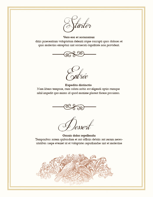 Wedding Menu Template. Step Free Downloadable Diy Wedding Menus