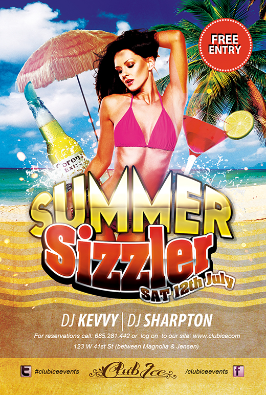 Free Hot Summer Photoshop Party Flyer Templates Nextdayflyers