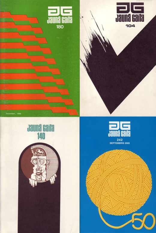 A selection of Ilmars Rumpeter covers from the graphic design magazine, Jauna Gaita, spanning the 70's to the 80's.