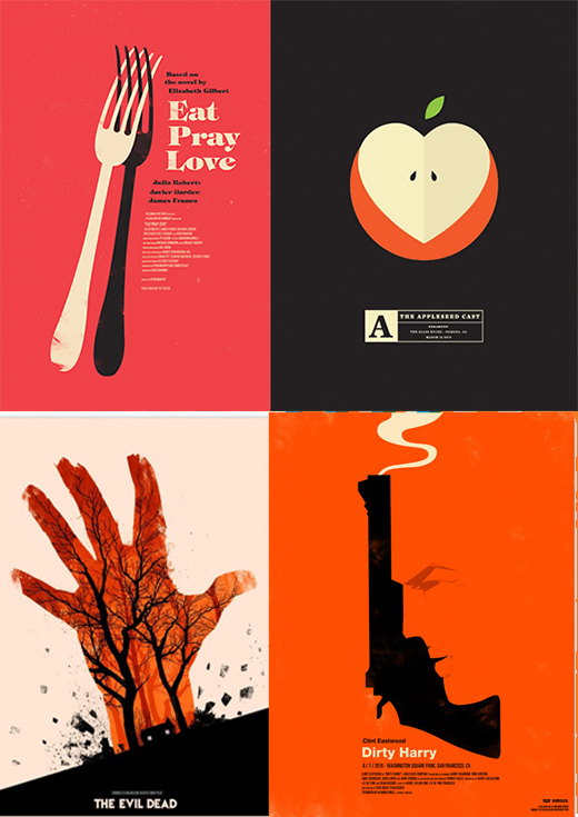A selection of Olly Moss movie poster re imaginings