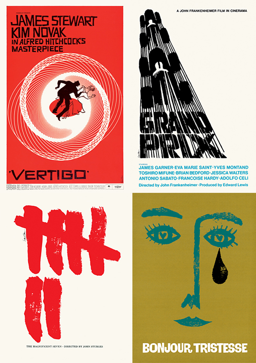 Further examples of Saul Bass movie posters, including the Vertigo poster that people cite as a graphical masterpiece