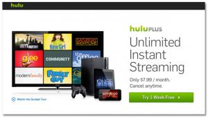 Hulu Plus Landing Page