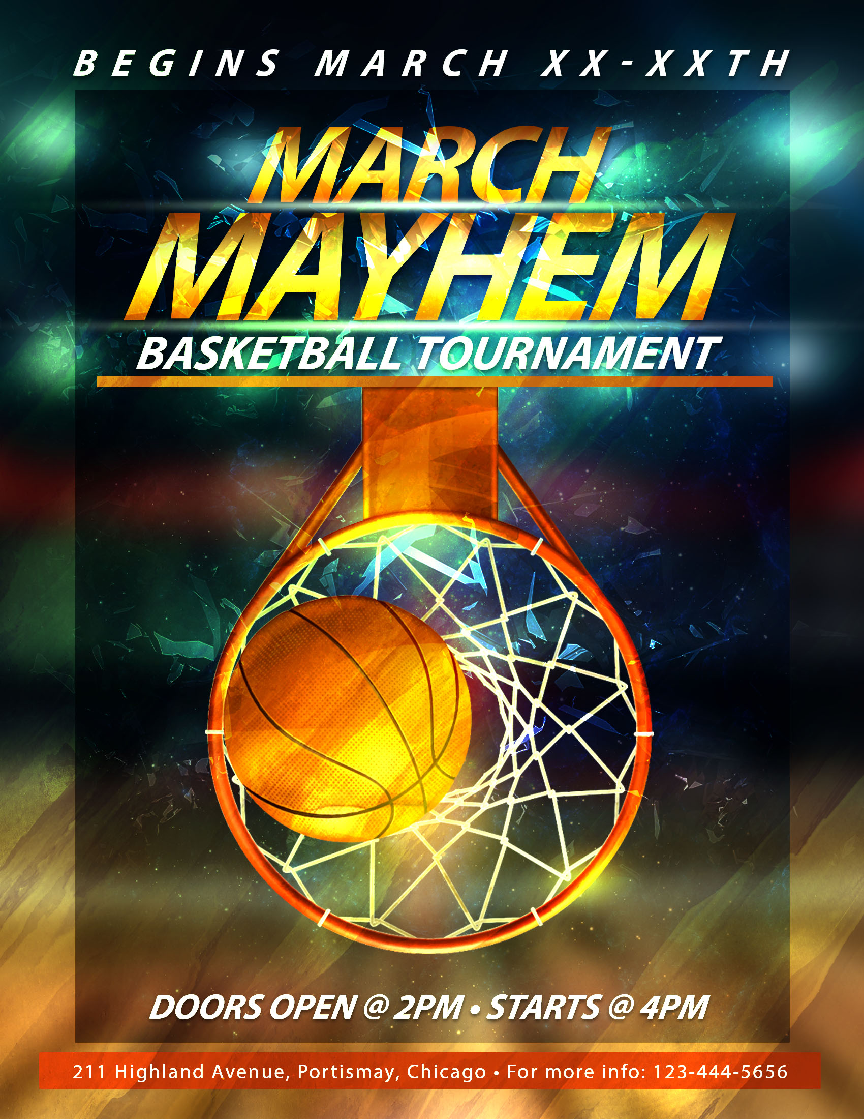 March madness basketball flyers template