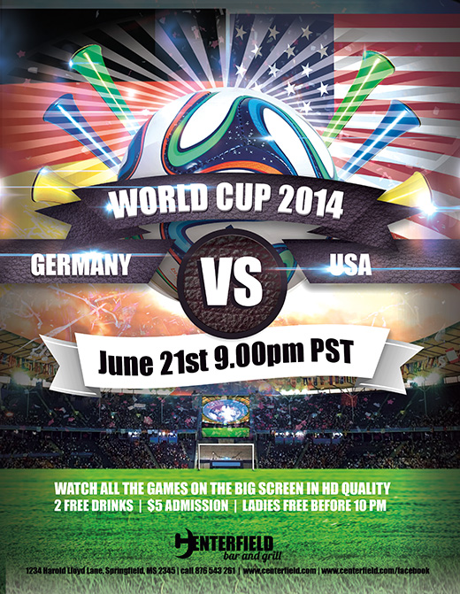 free 2014 world cup templates make your own postcard or flyers for tournament promotion