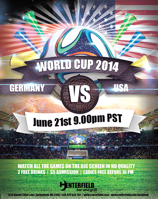 Free 2014 World Cup Templates Make Your Own Postcard or Flyers – Soccer Flyer Template