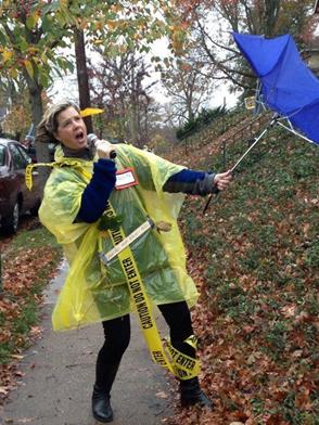 Funny caught in hurricane costume