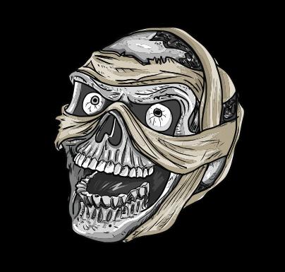 mummy skull vector