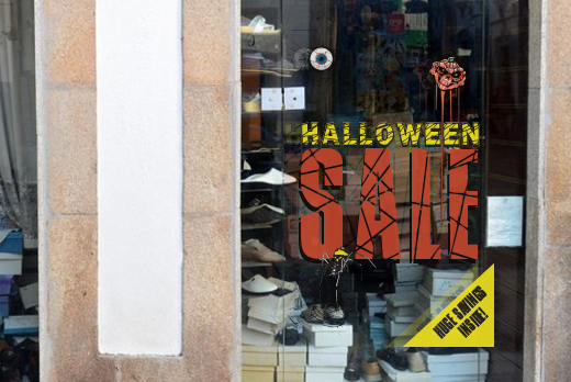 halloween window cling sale sign