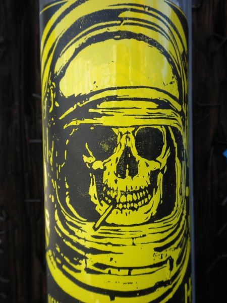 street art astronaut skull sticker