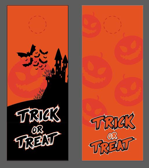 door hanger vector halloween template