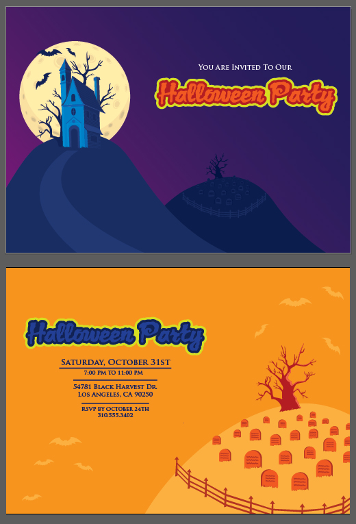 halloween invitation bvector templare