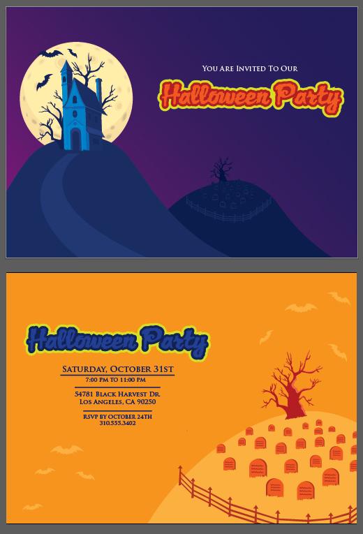 halloween invitation bvector templare