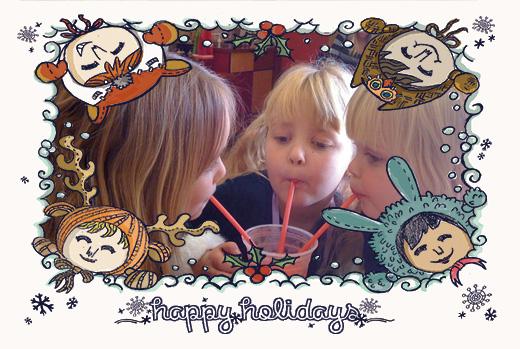 hand drawn christmas photo template