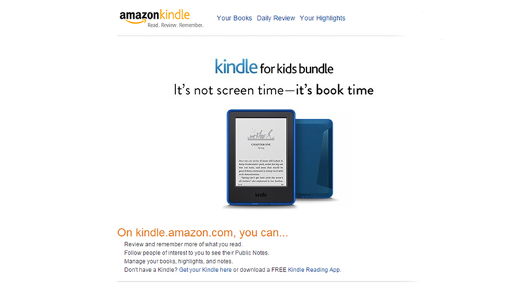 screenshot kindle website