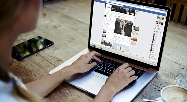 Person using Facebook for business