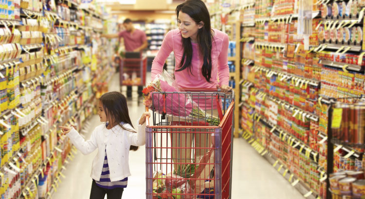 Buyer Persona - Mother and daughter shopping in a grocery aisle